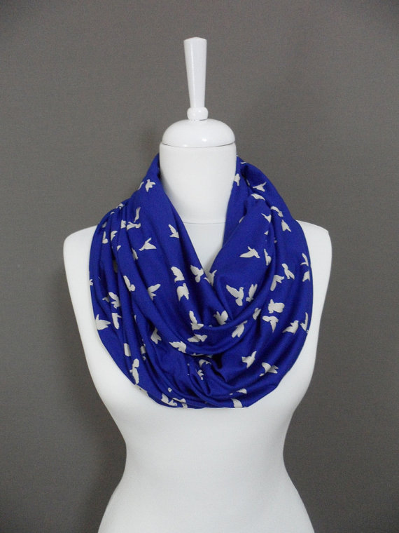 Bird pattern on Blue Infinity scarf, scarves, shawls, spring - fall - winter fashion