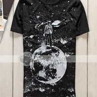 Fashion Moon Pattern Round Neck Short Sleeve Men T-shirt - DinoDirect.com