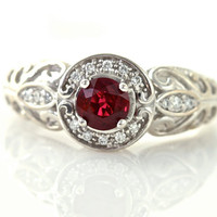 14K Vintage Ruby Ring Diamond Halo Ruby Engagement Ring Custom Art Nouveau 14K White Yellow Gold Platinum Bridal Jewelry
