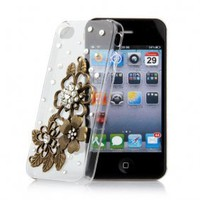 Iphone 4/4s Case Handmade Zircon \golden Flower\ White [#00300012] - US$12.56 : Amazplus.com