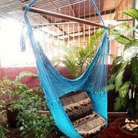Blue Turquoise Beautiful Chair Hammock Handmade Cotton by hamanica
