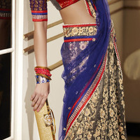 Beige Brown Art Silk Lehenga style Saree Blouse