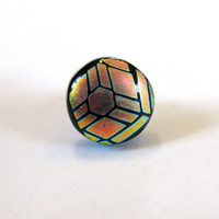 Dichroic Fused Glass Tie Tack - Dynamic - 035