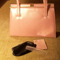 Pink Patent Leather Double Strap Handbag Black Satin Lining UNUSED NEW Vintage 1960&#x27;s Lennox Bag  from TKSPRINGTHINGS Accessories Collection