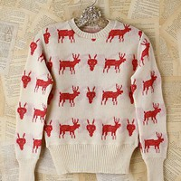 Free People Vintage Red Deer Sweater