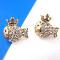 Small Crown Princess Fish Animal Stud Earrings with Rhinestones from Dotoly Love