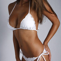 Ritchie Swimwear Heart Breaker Sexy Skimpy Brazilian Scrunch Bottom Bikini White