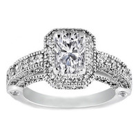 Engagement Ring - Cushion Diamond Legacy Style Engagement Ring in 14K White Gold 1.05 tcw. - ES129CU