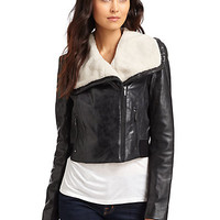 BCBGMAXAZRIA - Leather Bomber Jacket