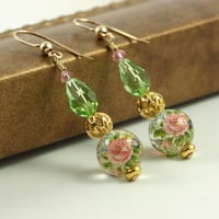 Pink Rose Earrings Peridot Green Japanese by AbacusBeadCreations