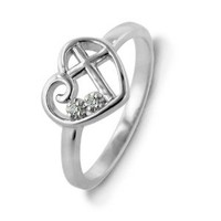 Sterling Silver Diamond Accent Purity Heart & Cross Ring - Size 7: Jewelry: Amazon.com