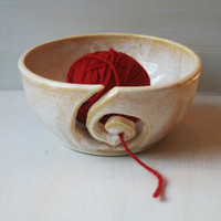 Yarn Bowl Knitting Bowl in Rustic Creamy White by sheilasart