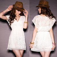 New Women See-through Openwork Lace Deep V-neck Tunic Tops Mini Dresses Casual
