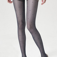 ROMWE | Check Grain Dots Navy-blue Tights, The Latest Street Fashion