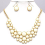 Ivory-Color Bubble Deco Gold Elegant Chunky Fashion Jewelry Necklace Earring Set