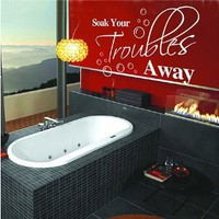 Amazon.com: Soak Your Trouble Away - Home Laundry Bathroom Wall Quotes Art Wall stickers Wall decals Wall Mural (Red, Large): Home &amp; Kitchen