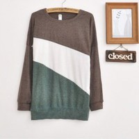 Wholesale Loose Blockcolor Long Sleeve Blouse Grey