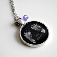 Mother&#x27;s Necklace- Your Baby&#x27;s ACTUAL Footprints and Birthstone Keepsake Resin Pendant Necklace- Valentine&#x27;s Day, Mother&#x27;s Day