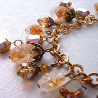 Topaz charm bracelet golden autumn berries by shadowjewels on Etsy
