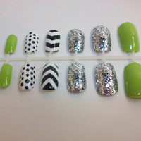 Hand Painted Chevron and Polka Dot Fake Nails