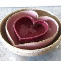 miniature nesting set of pink ombre heart bowls ready to ship