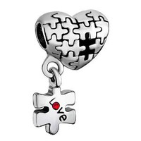 Amazon.com: Christmas Gifts Pugster Puzzle Heart Dangle Love Red Crystal Charm Beads Fit Pandora Charm Bead Bracelet: Pugster: Jewelry