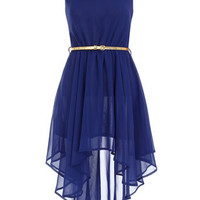 Asymmetric royal blue dress