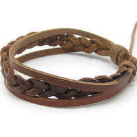 Bangle leather bracelet woven bracelet unisex bracelet men bracelet women bracelet With brown leather Woven wrist bracelet  1SZ-LH-044