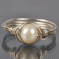 Pearl Sterling Silver Ring - Wire W.. on Luulla