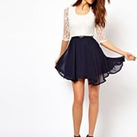 Paprika Lace Belted Skater Dress at asos.com