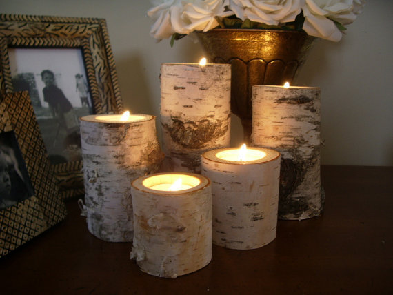 5 birch bark log candle holders tea from miwoodcrafts on etsy
