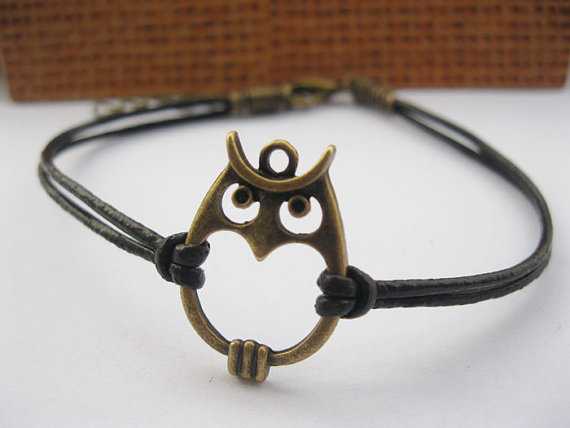 braceletantique bronze owl pendant &amp; brown leather by lightenme