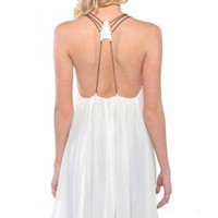 Chain Detail Chiffon Halter Dress