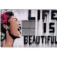 Life Is Beautiful by Banksy Canvas Painting Art Print #2055 18&quot;x12&quot;
