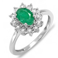 1.00 Carat (ctw) Kate Middleton Diana Replica 10K White Gold Real Round Diamond With Real Oval Green Emerald Royal Engagement Ring: Jewelry: Amazon.com
