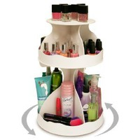 Amazon.com: Cosmetic Organizer that Spins ! Makeup is Now at Your Fingertips. Pretty in White &amp; Perfect for any Countertop, Almost Triples Your Storage, Only 12&quot; needed &amp; No More Clutter!! ...Proudly Made in the USA! by PPM.: Beauty