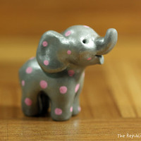 Pink Polka Dot Silver Elephant Miniature Handmade Figurine
