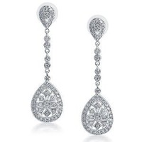 Amazon.com: Bling Jewelry Bridal Art Deco Pave CZ Teardrop Silver Plated Chandelier Earrings Large 2.5: Jewelry
