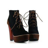 Fashion Lace-up Ladies High Heel Shoes Black : Wholesaleclothing4u.com
