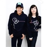 Cute Cartoon Lover Patterns Long Sleeve Hoodede Sweater--Lover&#x27;s Clothes China Wholesale - Sammydress.com