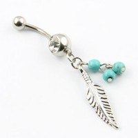 Amazon.com: 316L Surgical Steel 14 Guage Leaf Dangle With Blue Beads Navel Belly Button Ring Bar: Jewelry