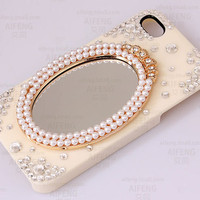 Custom Unique iPhone Cases Mirror design Pearl Crystals decorate iPhone 5 Case iPhone 4 Case iPhone 4s Case