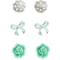 Dome, Flower & Bow Earring Trio: Charlotte Russe
