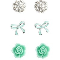 Dome, Flower &amp; Bow Earring Trio: Charlotte Russe