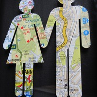 Where We&#x27;re From Love Vintage Map Figures by TerrorDome on Etsy