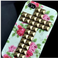Studded personalized Iphone 4 Case, Cross Antique Bronze studded Iphone cover, Flower Rose Iphone 4 Hard Case, Fit Iphone 4, Iphone 4S