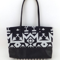 Tribal Pendleton and leather purse // Aztec wool and studded leather tote // Black and white southwestern print and silver studs