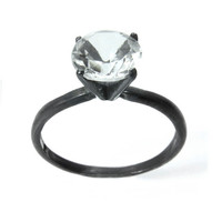 Ice Crystal Solitaire Ring, Diamond Alternative Engagement Ring