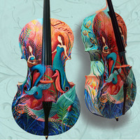 Custom Painted Cello 4/4 Hand Painted Musical Instruments