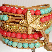 Starfish Leather Wrap Bracelet -  Chan Luu style - Beach Ocean - Mint Gold Orange